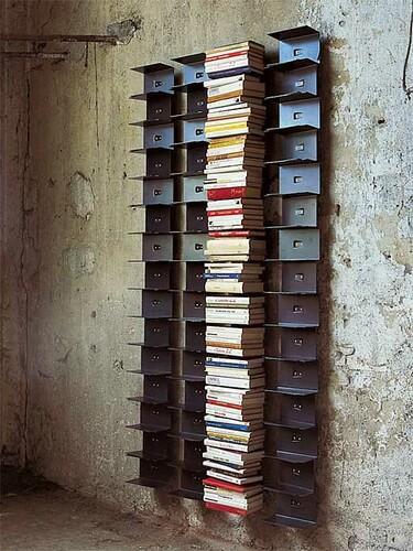 Bücherregal Ptolomeo Wall 11 Fächer, Höhe 155 cm, Stahlbelch schwarz